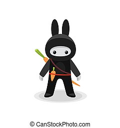 schattig, wortel, konijntje, ninja