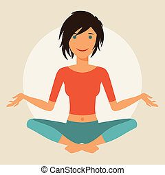 schattig, yoga., praktijk, jonge, illustratie, meisje