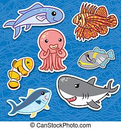 schattig, zee dier, stickers3