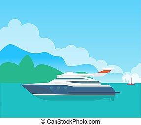 schattig, zeezicht, kleur, groot, motorboot, zee, spandoek