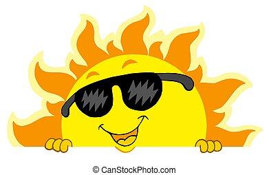 schattig, zich het verschuilen, zon, met, zonnebrillen