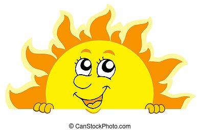 schattig, zich het verschuilen, zon