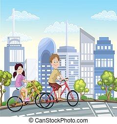 schattig, zijn, jongen, meiden, fietsen, paardrijden