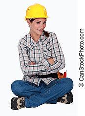 schattig, zittende , arbeider, floor., bouwsector, vrouwlijk
