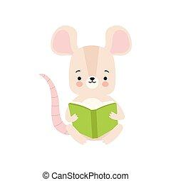 schattig, zittende , schattige, boek, illustratie, vector, dier, lezende , muis, boek, smart, karakter