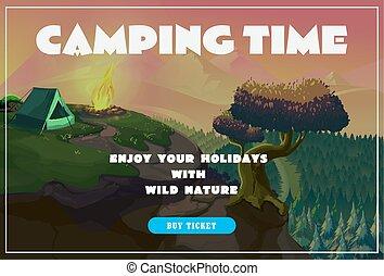schattig, zomer, poster, -, kamperen, landscape, met, tentje, en, bonfire., vector