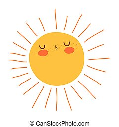 schattig, zon, getrokken, pictogram