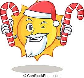 schattig, zon, karakter, versuikeren, kerstman, spotprent