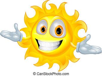 schattig, zon, mascotte, spotprent, karakter