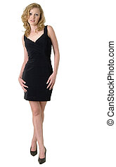 schattig, zwarte jurk, op helling, model