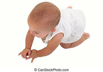 schattige, baby meisje, kruipen, op, vloer