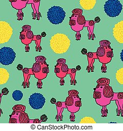 schattige, bobbles, roze, vector, illustratie, seamless, poedel, model, schattig