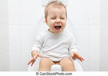 Kind Op Toilet.Toilet Kind Toilet Weinig Niet Zo Veel Grappige