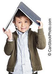 schattige, jongen lees, een, boek