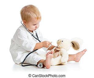 schattige, kind, geklede, als, arts, spelend, met, speelbal,...