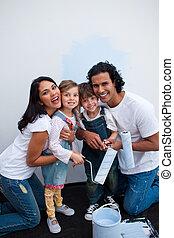 schattige, kinderen, schilderij, een, kamer, met, hun, ouders