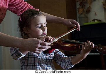 schattige, spelend, leren, meisje, weinig; niet zo(veel), viool