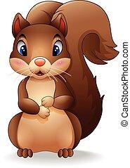 schattige, spotprent, squirrel