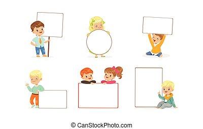 schattige, verzameling, schattig, geitjes, vrolijke , lege, vasthouden, jongens, leeg, banieren, illustratie, vector, meiden, witte , affiches