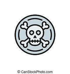 schatz, icon., muenze, wohnung, pirat, doubloon, linie,...