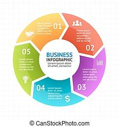 schaubild, diagramm- darstellung, infographic, pfeile, diagramm, vektor, kreis
