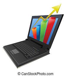 schaubild, laptop, wachstum, geschaeftswelt