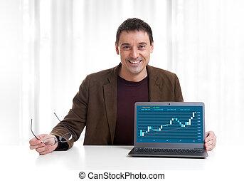 schaubild, mann, analysieren, markt, bestand