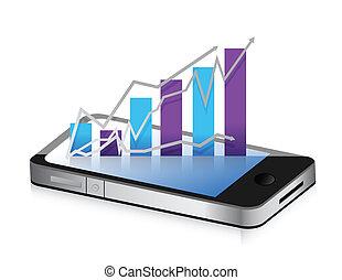 schaubild, smartphone, telefon., tabelle, geschaeftswelt