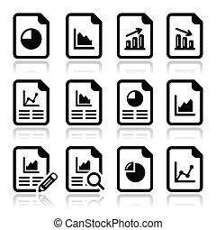 schaubild, tabelle, dokument, torte, ikone