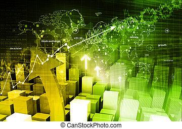 schaubild, wirtschaftlich, markt, bestand