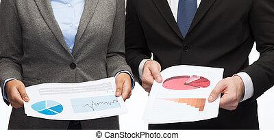 schaubilder, businesspeople, tabellen