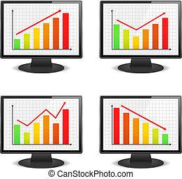 schaubilder, computer- monitoren