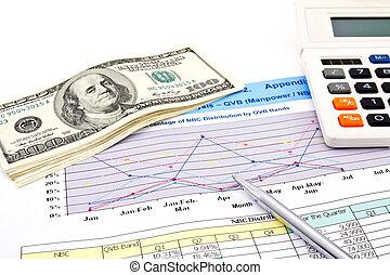 schaubilder, dollar, finanziell, stift