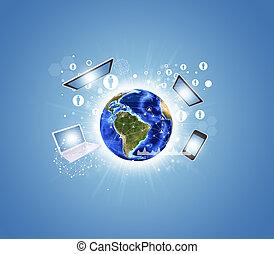 schaubilder, elektronik, vernetzung, erde