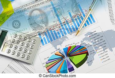 schaubilder, finanziell, tabellen, geschaeftswelt