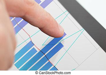 schaubilder, geschäftsmann, analysieren, tablette, digital