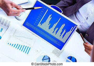 schaubilder, papier, finanziell, tabellen, tisch