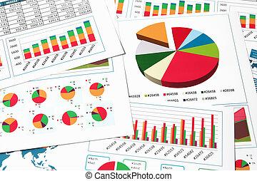 schaubilder, tabellen, papier, diagramme