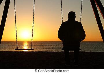 schauen, alleine, sandstrand, sonnenuntergang, mann