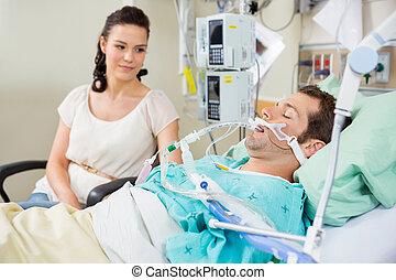 schauen, basierend, frau,  Patient