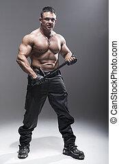 schauen, bodybuilder, guten, posierend, polizist
