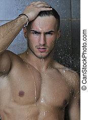 schauen, dusche, guten, mann, unter