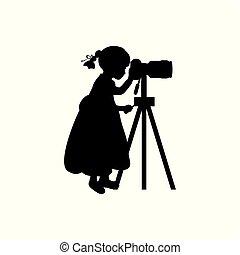 schauen, fotograf, m�dchen, fotoapperat, silhouette