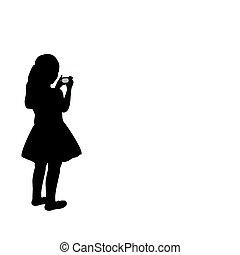 schauen, fotograf, m�dchen, silhouette, kamera.