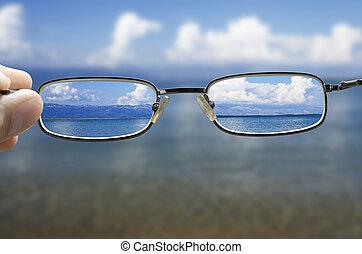schauen, glas, durch, meer