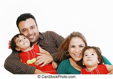schauen, porträt, lächeln, familie, glücklich