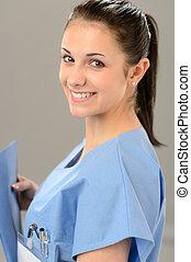 schauen, porträt, medizin, fotoapperat, medizinalassistent