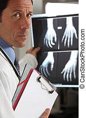 schauen, röntgenaufnahme, doktor