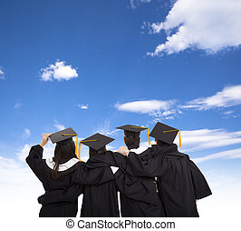 schauen, studenten, himmelsgewölbe, vier, staffeln