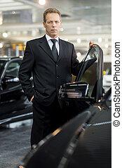 schauen, tür, geöffnet, auto, marke, grau, formalwear, hand, haar, sicher, fotoapperat, auto., fällig, besitz, neu , mein, mann
